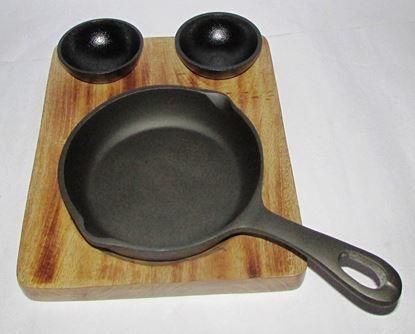 Picture of DESTELLER CAST WOOD BASE ROUND PAN DIP BOWLS